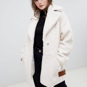 new asos teddy borge buckle coat 16 cream